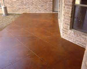 stained concrete reddish brown new patio 36 inch tile