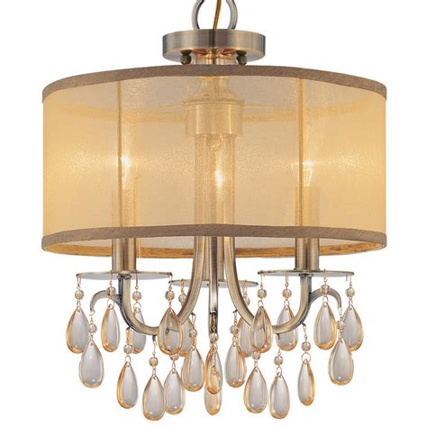 hton antique brass chandelier with silk shade