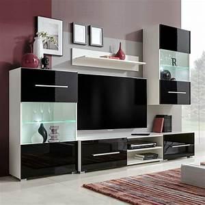 Meuble Tv Led Noir : acheter vidaxl meuble tv mural 5 pi ces avec clairage led noir pas cher ~ Teatrodelosmanantiales.com Idées de Décoration