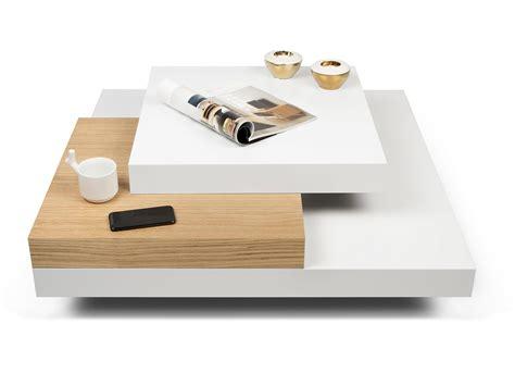 table basse carr 233 e design en bois blanc et ch 234 ne l90 cm slato