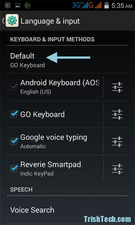 android keyboard settings how to set default keyboard in android device