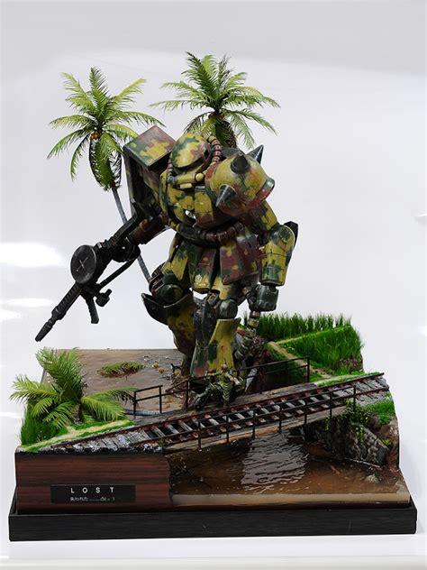amazing gunpla diorama  ms  zaku ii lost
