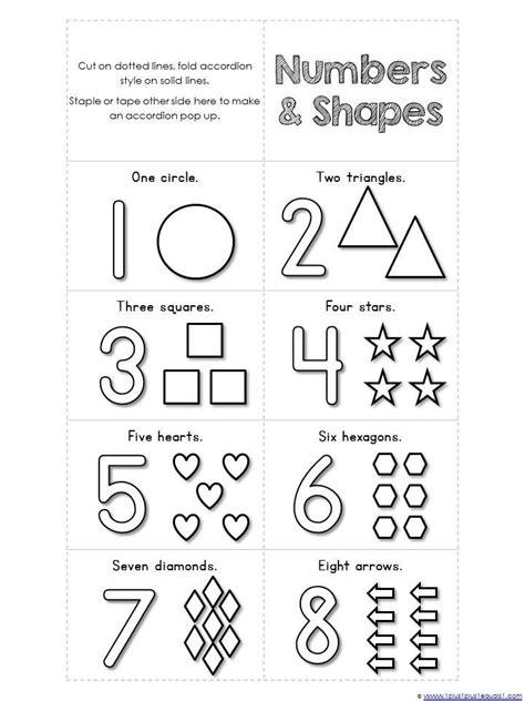 accordion book printables numbers preschool shapes