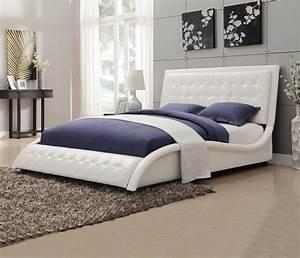 Tully, White, King, Platform, Upholstered, Bed, From, Coaster, 300372ke
