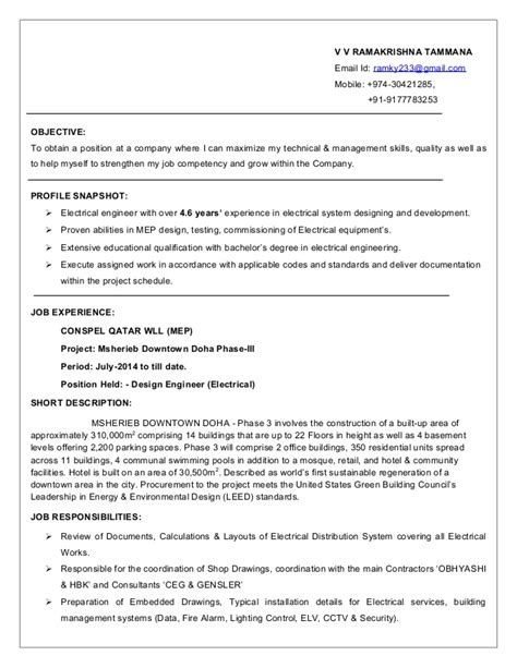 Best Objective For Electrical Engineer Resume by Electrical Engineer Resume