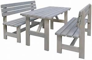 Gartenmöbel Set Grau : gartenm bel set 3 tlg holz gartensitzgruppe tisch b nke grau ~ Whattoseeinmadrid.com Haus und Dekorationen