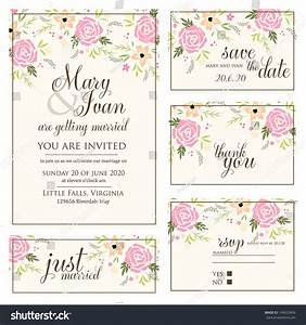 wedding invitation thank you card save stock vector With wedding invitations rsvp and thank you cards