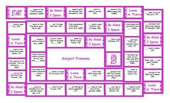 Subject Vs Object Pronouns Board Game By Esl Fun Games Tpt
