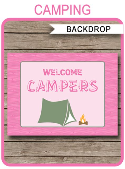 welcome sign template pink cing backdrop decorations