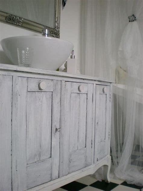 Sink, Cabinet. Bathroom. Chalk Painted. White, Grey