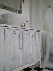 Sink Cabinet Bathroom Chalk Painted White Grey
