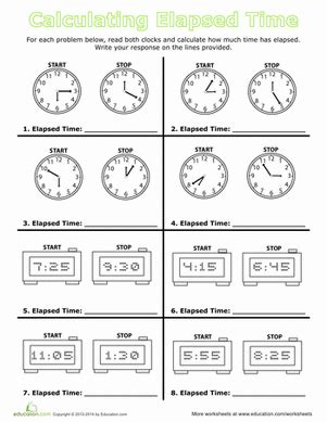 calculate elapsed time telling time math