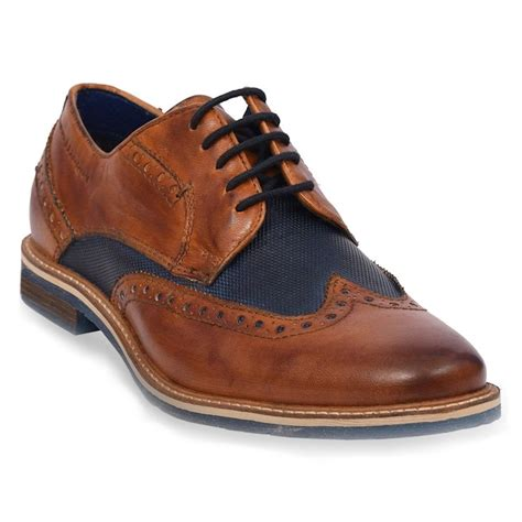 These casual and formal shoes are all available with free delivery in the uk when you spend £40. Bugatti 311-25904-3535 Mens Premium Leather Brogue Shoes - Cognac/Dark Blue