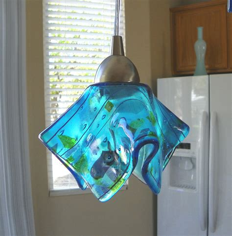 blue confetti art glass pendant light  kitchen island