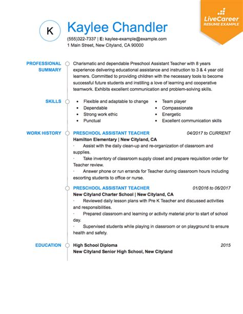 Resume Template For Teachers by Best Resume Exle Livecareer