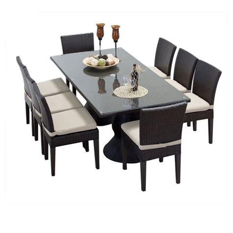 tkc napa 9 wicker patio dining set in beige napa