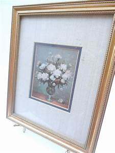 vintage floral print flower picture bronze matted picture