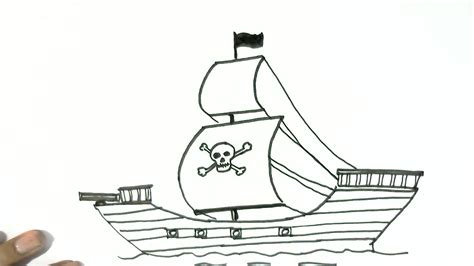 Boat Cartoon Easy To Draw by Boat Drawing Easy How To Draw A Pirate Ship In Easy