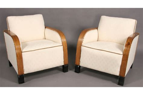 pair deco upholstered club chairs j6500 for