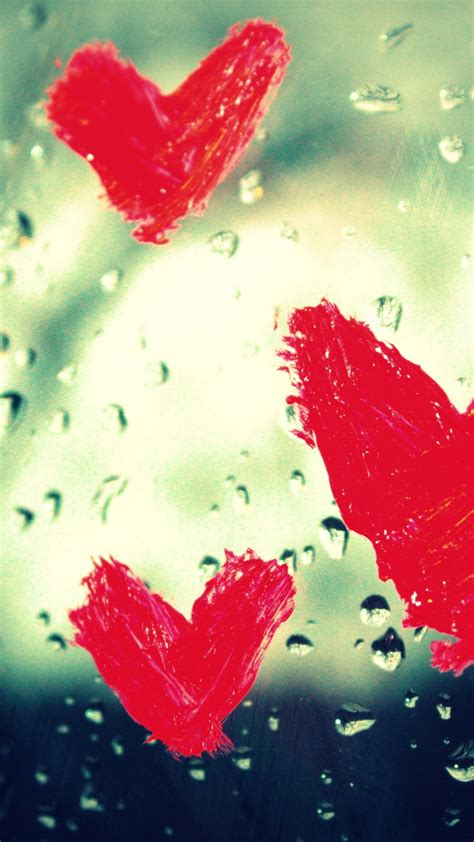 wallpaper love hearts rain drops  love