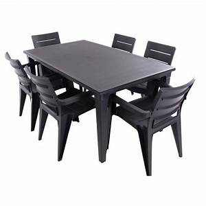 Chaise Jardin Plastique : justhome salon de jardin ibiza ensemble 6 chaises table noir achat vente salon de jardin ~ Teatrodelosmanantiales.com Idées de Décoration