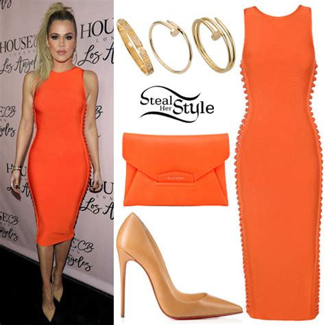 Khloe Kardashian: Orange Bandage Dress, Nude Pumps | Steal ...