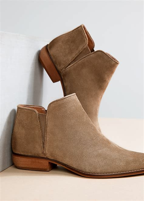 Flat Bootie by Mango Flat Suede Ankle Boots In Natural Lyst