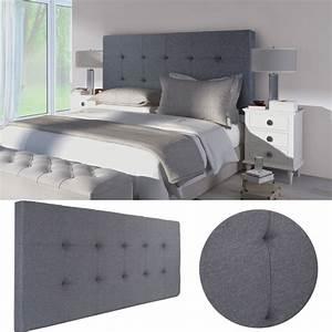 Tete De Lit Tissu : t te de lit capitonn e en tissu 160x58 cm grise anthracite ~ Premium-room.com Idées de Décoration
