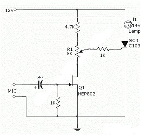 Simple Sound Activated Lamp Relay Switch Circuits
