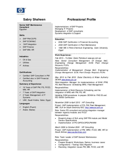 senior sap consultant c v resume