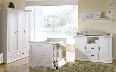 Massivholz Babyzimmer Set Odette Weiß Kinderzimmer 3teilig
