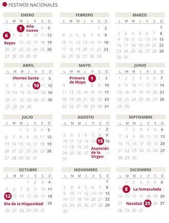 calendario laboral del puentes dias festivos por
