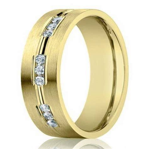 6mm designer 14k yellow gold wedding ring for with diamonds justmensrings