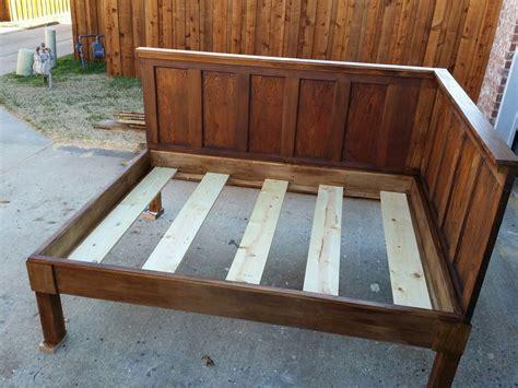 Bedroom Diy Corner Wood Bed Frame With High Headboard For
