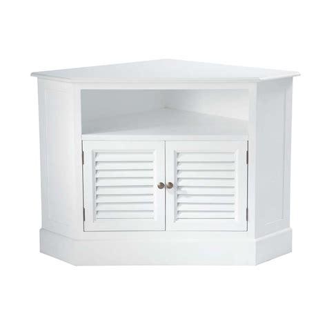 meuble tv d angle en bois blanc l 75 cm barbade maisons du monde