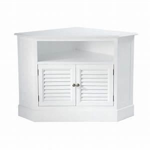 meuble tv d39angle en bois blanc l 75 cm barbade maisons With ordinary meuble d angle maison du monde 0 meuble angle bois
