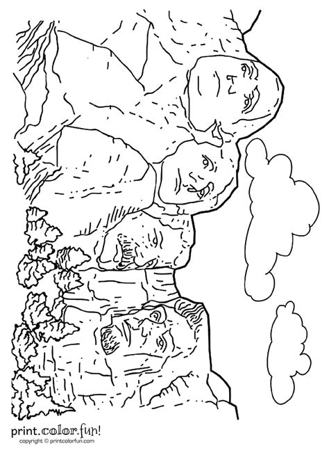 Mount Rushmore coloring page - Print. Color. Fun!