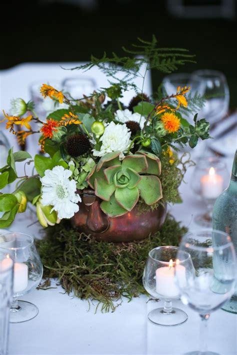 Copper And Moss Wedding Centerpiece Elizabeth Anne
