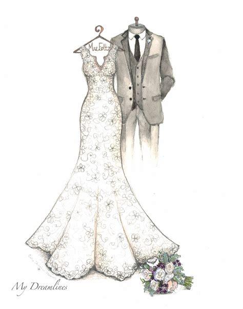 Gift to the Bride Wedding Dress Sketch by Catie Stricker