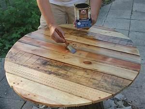 Construire une table de jardin en bois de palette sur for Superior maison en tronc d arbre 1 construire une table de jardin en bois de palette sur