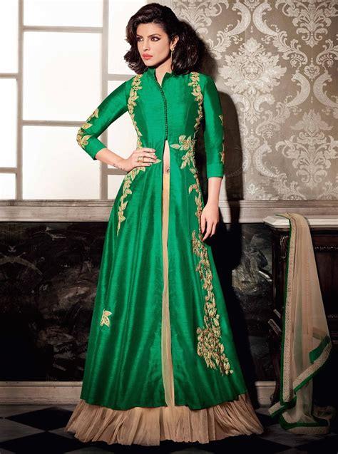 buy priyanka chopra green color lehenga style wedding wear