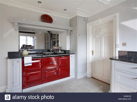 a aga cooker in a modern kitchen in a home in the uk stock photo royalty free image