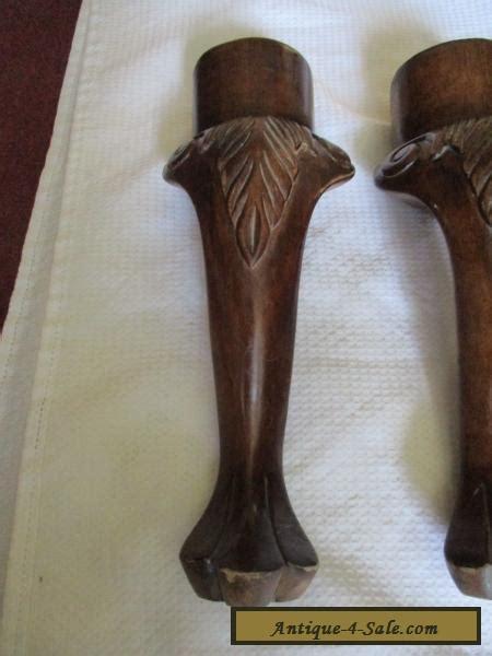 set antique vintage solid wood lions foot table legs