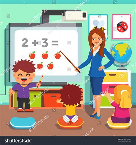 kindergarten teaching math stock vector 216   stock vector kindergarten teacher woman teaching kids math with an interactive board children studying in 309326978