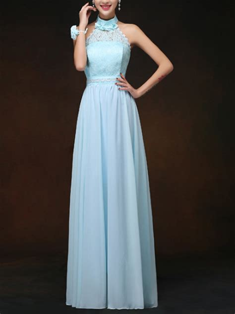blue maxi halter lace  size dress  prom bridesmaid