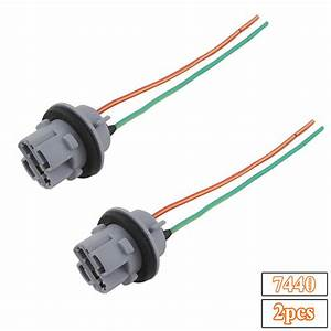 2pcs 7440 992 T20 Female Socket Wiring Harness For Drl