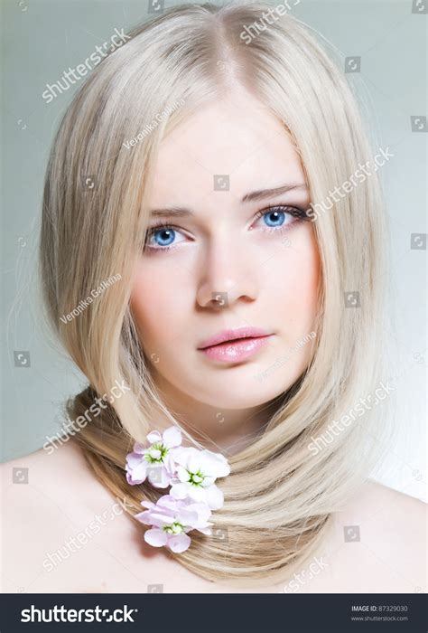 Beautiful Young Girl White Hair Blue Stock Photo 87329030