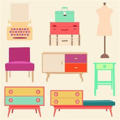 Clipart Furniture Doll Living Retro Printables Salotto