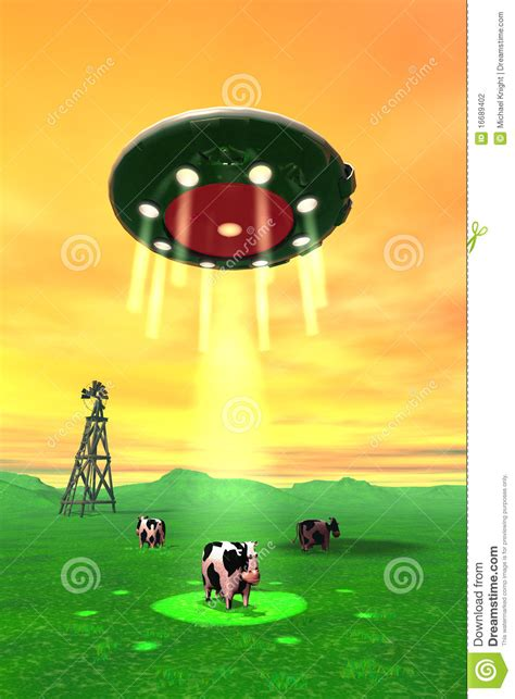cow abduction l comical cow abduction 4 stock photography image 16689402