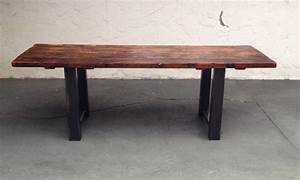 reclaimed wood and steel dining table thecoastalcraftsman With dining tables made from reclaimed wood